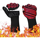 932℉ Extreme Heat Resistant Gloves, Silicone Oven Mitts for Kitchen - High Heat BBQ Gloves for Grilling, Large Oven Gloves fo