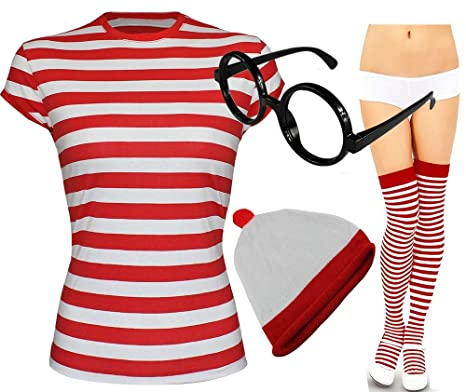 27da0979e0 Girls Womens Red And White Striped T shirt Hat Socks Glasses Fancy Dress  Outfit # (