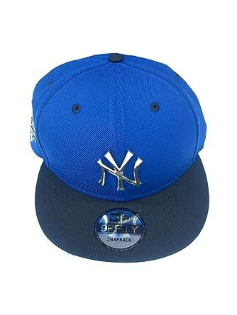 c354eb81b22 New York Yankees Blue Metal Badge Silver New Era 950 Mlb Hat Snap Cap Ny   Amazon.co.uk  Clothing
