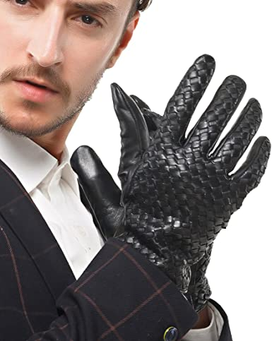 Nappaglo Mens Italian Nappa Leather Gloves Touchscreen Lambskin Warm Gloves