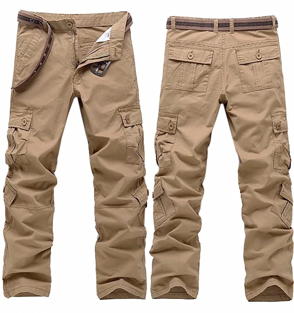 Kmety Men's Cotton Casual Army Cargo Combat Work Pants with 8 Pockets