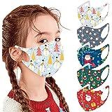 melupa 5 PCS Kids Face Bandanas - Christmas Printed, Reusable Cloth Face Bandana Set with Elastic Ear Hook for Boys Girls