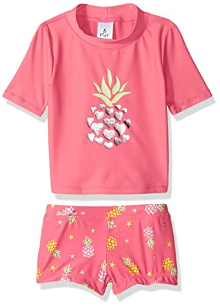 50918a5f3a4a0 KIKO & MAX Toddler Girls' Swimsuit Set with Short Sleeve Rashguard Swim  Shirt, Coral