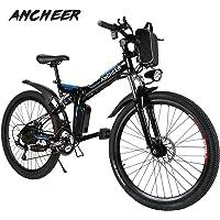 ANCHEER Elektrofahrrad 26 Zoll E- Bike Mountainbike, 25-50km/h Meilen Kilometerstand, 36V 8AH Abnehmbarer Akku and 21 Gang Getriebe (26 Zoll)