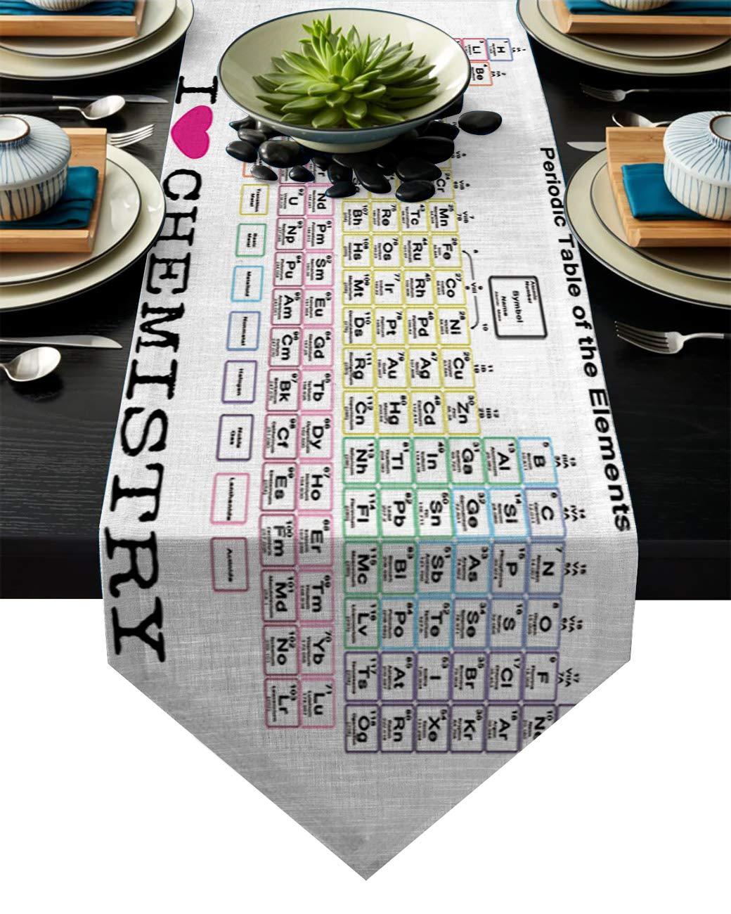 リネン麻布テーブルランナー ドレッサースカーフ 幾何学模様デザイン キッチンテーブルランナー ディナーホリデーパーティー 結婚式 イベント 装飾 14 By 72 Inch 20181120-XGL-runnerSLEO00921ZQACFAD 14 By 72 Inch Periodic Table of Elements6fad3555 B07KQ3DK8H