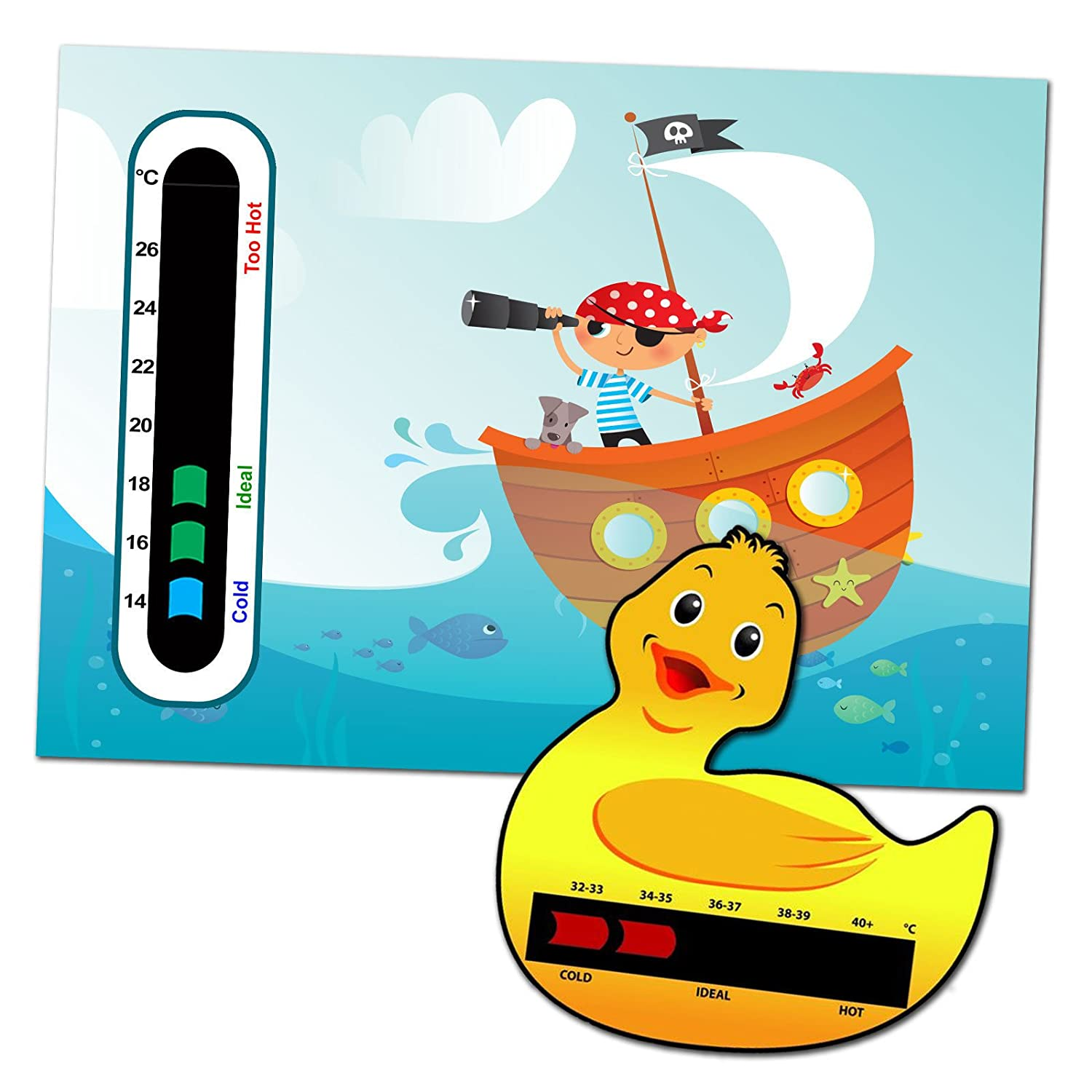 Baby Safe Ideas Pirate Nursery and Room Thermometer, Duck Bath Thermometer Pack for Baby/Child - Easy Read Good Life Innovations Ltd