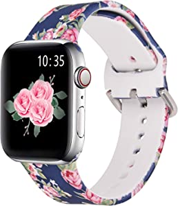 KOREDA Compatible with Apple Watch Band 40mm 38mm, Fadeless Pattern Printed Floral Bands Silicone Replacement Band for iWatch SE & Series 6 & Series 5/4/3/2/1 for Women Men (Blue Rose)