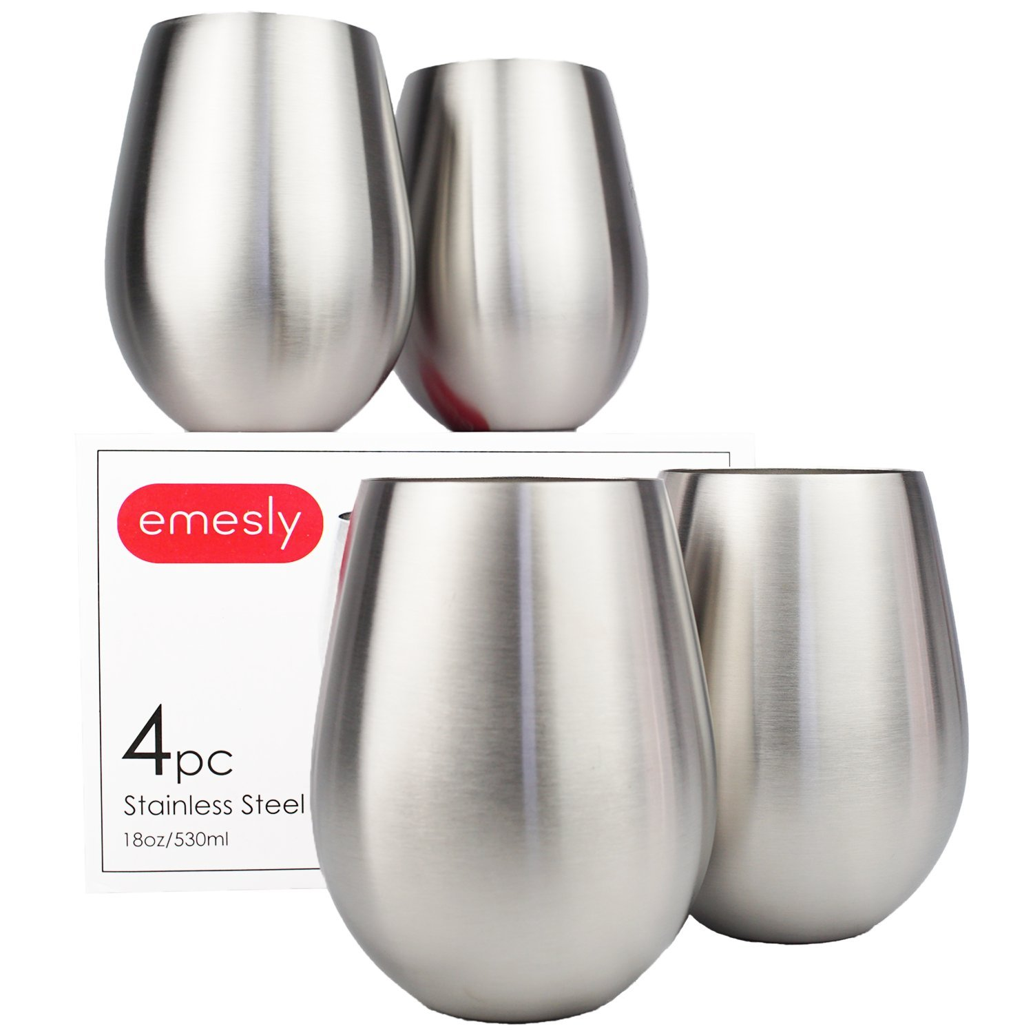 Stainless Steel Wine Glasses, Premium Food Grade 18/8 Stainless Steel Red & White Stemless Metal Wine Glass (Set of 4), Unbreakable, Portable Wine Tumblers for Daily Home, Travel, Outdoor Use; 18 Oz.