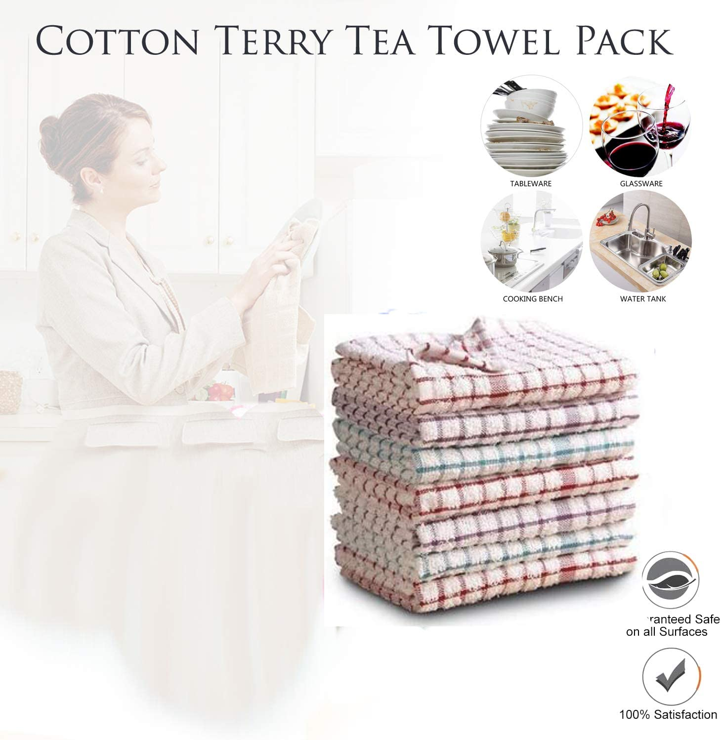 Pack of 12 100/% Egyptian Cotton Super Absorbent Soft Touch 36 x 60cm Approx PORTER AND LAMBERT Terry Tea Towel Bar Cloths Cleaning Multi Purpose Kitchen Dish