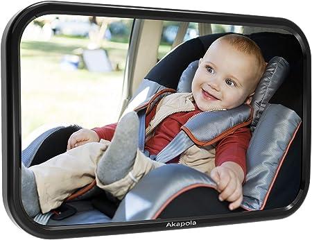 【GRAN TAMAÑO PARA BUENA VISIÓN】 Debido al tamaño de 289mm x 187mm, Akapola espejo retrovisor bebé le