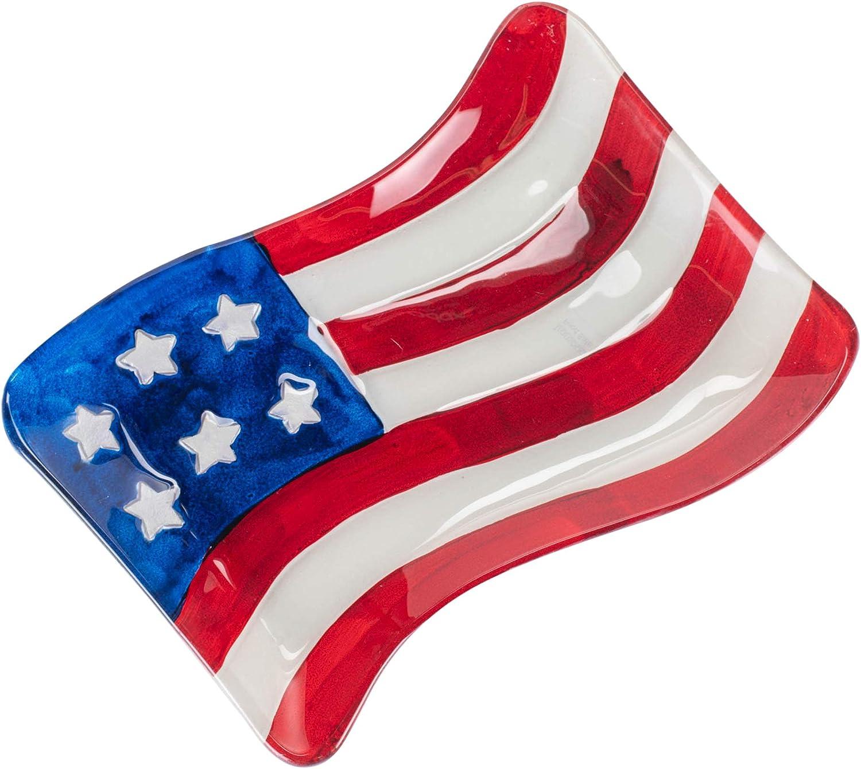 Transpac American Flag Glossy 13 x 9 Glass Decorative Serving Platter Tray