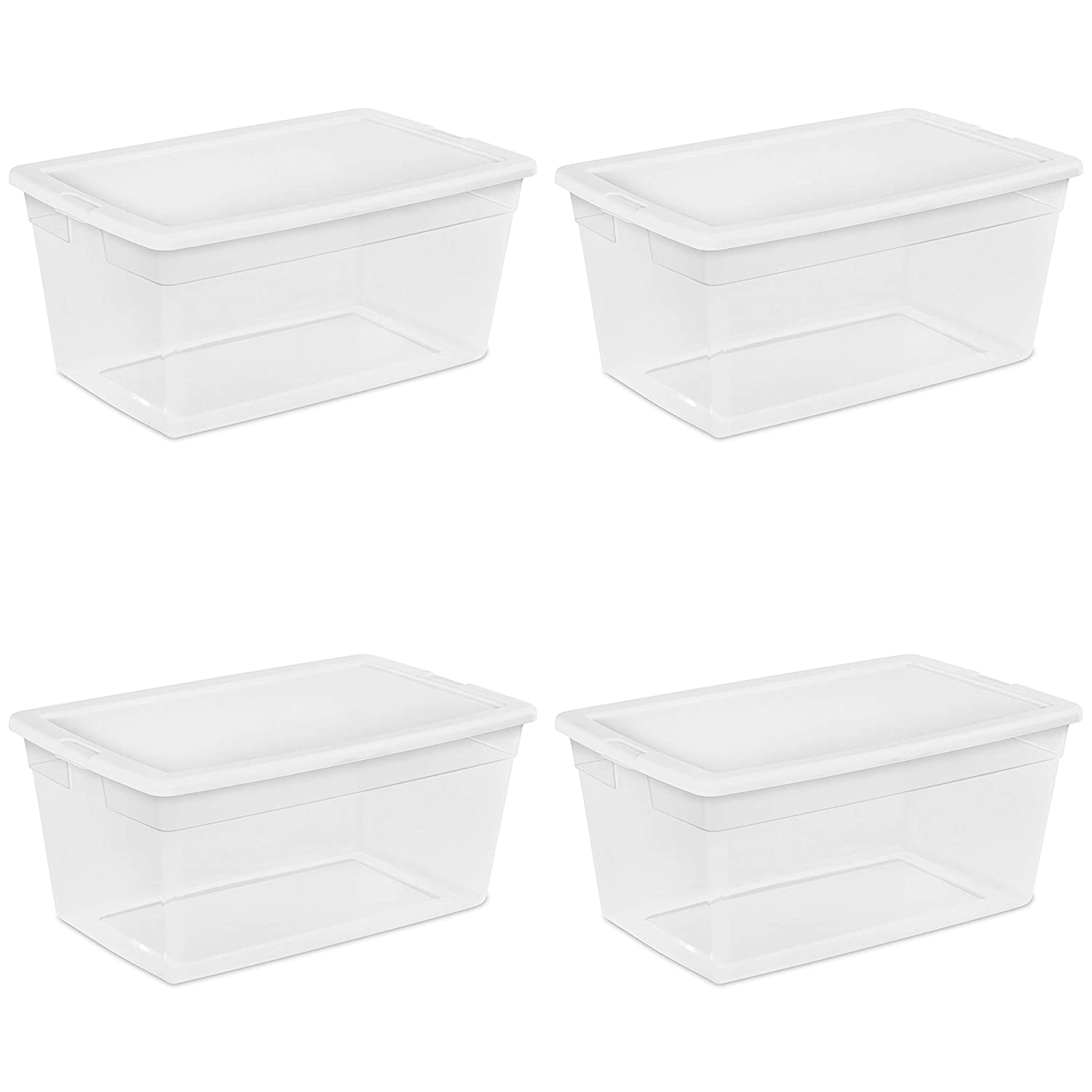Sterilite 16668004 90 Quart/85 Liter Storage Box, Clear with a White Lid, 4-Pack