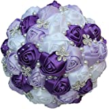 Wedding Flowers Bridesmaid Bouquet in Purple Lilac and White: Amazon ...