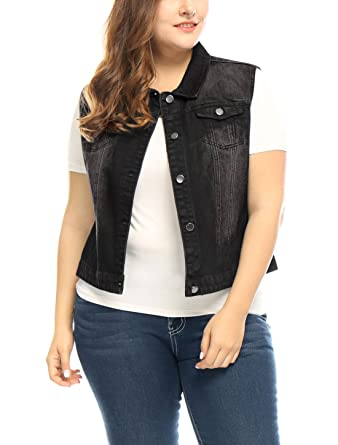 c787eecb99a7 uxcell Women s Plus Size Chest Pockets Single Breasted Denim Vest 1X Black