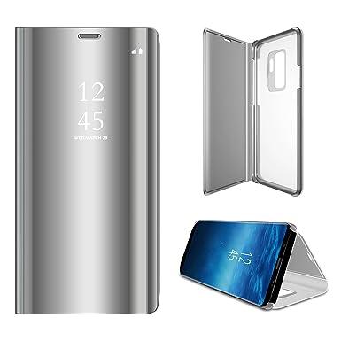 Hexcbay Funda Samsung Galaxy S9, Samsung Galaxy S9 Plus, Elegant Mirror Flip Funda Protectora Ultra Delgada Resistente a Prueba de Golpes Funda para ...