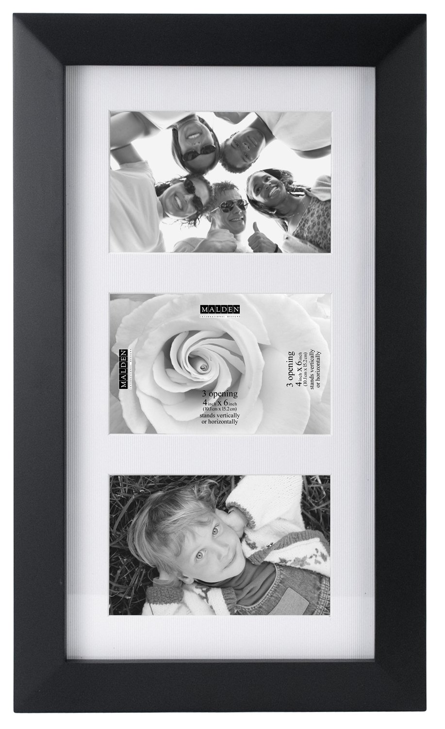 Malden International Designs Berkeley Matted Black Wood Collage Picture Frame, 3 Option, 3-4x6, Black by Malden International Designs