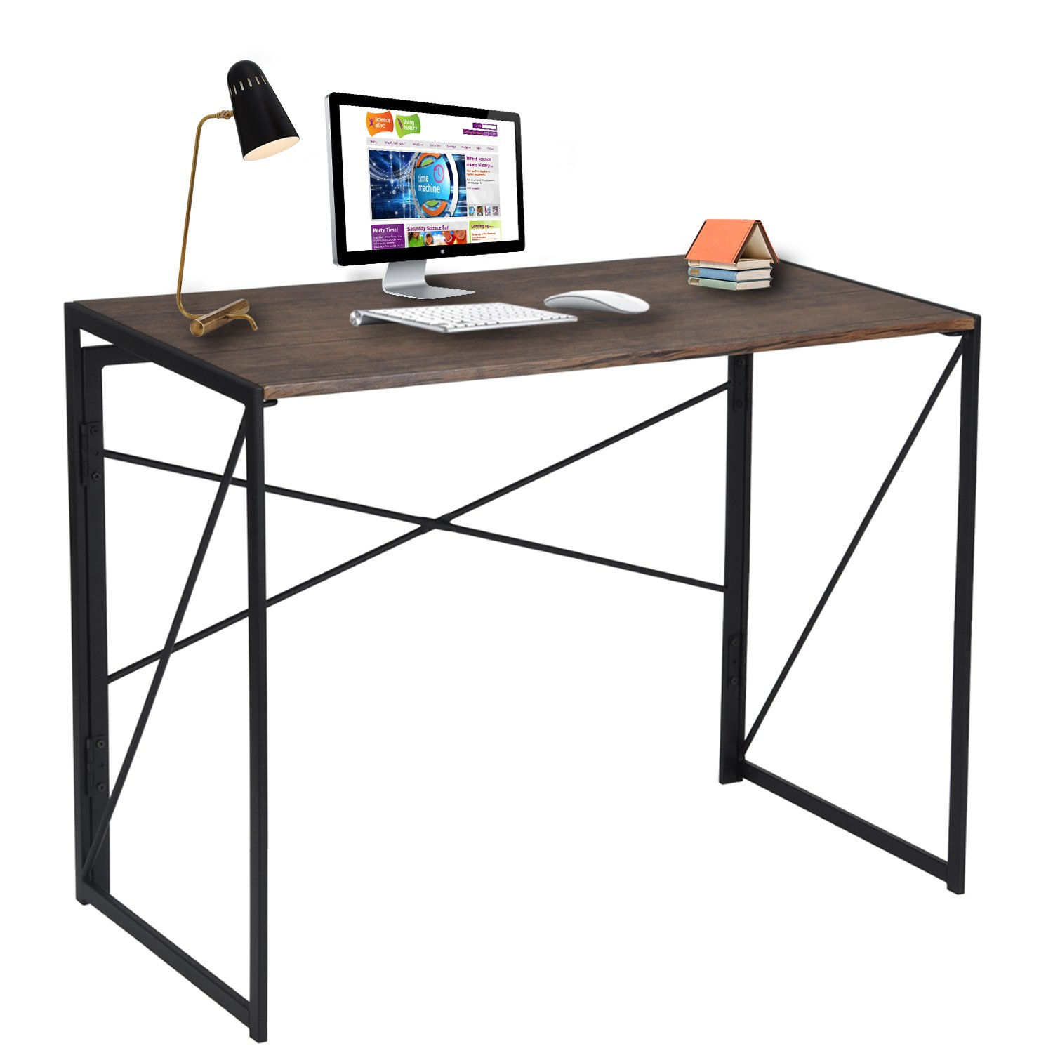 Writing Computer Desk Modern Simple Study Desk Industrial Style Folding Laptop Table for Home Office Brown Notebook Desk by Coavas