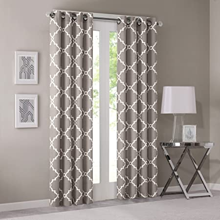 Madison Park Saratoga Room-Darkening Curtain Fretwork Print 1 Window Panel  with Grommet Top Blackout Drapes for Bedroom and Dorm, 50x84, Grey