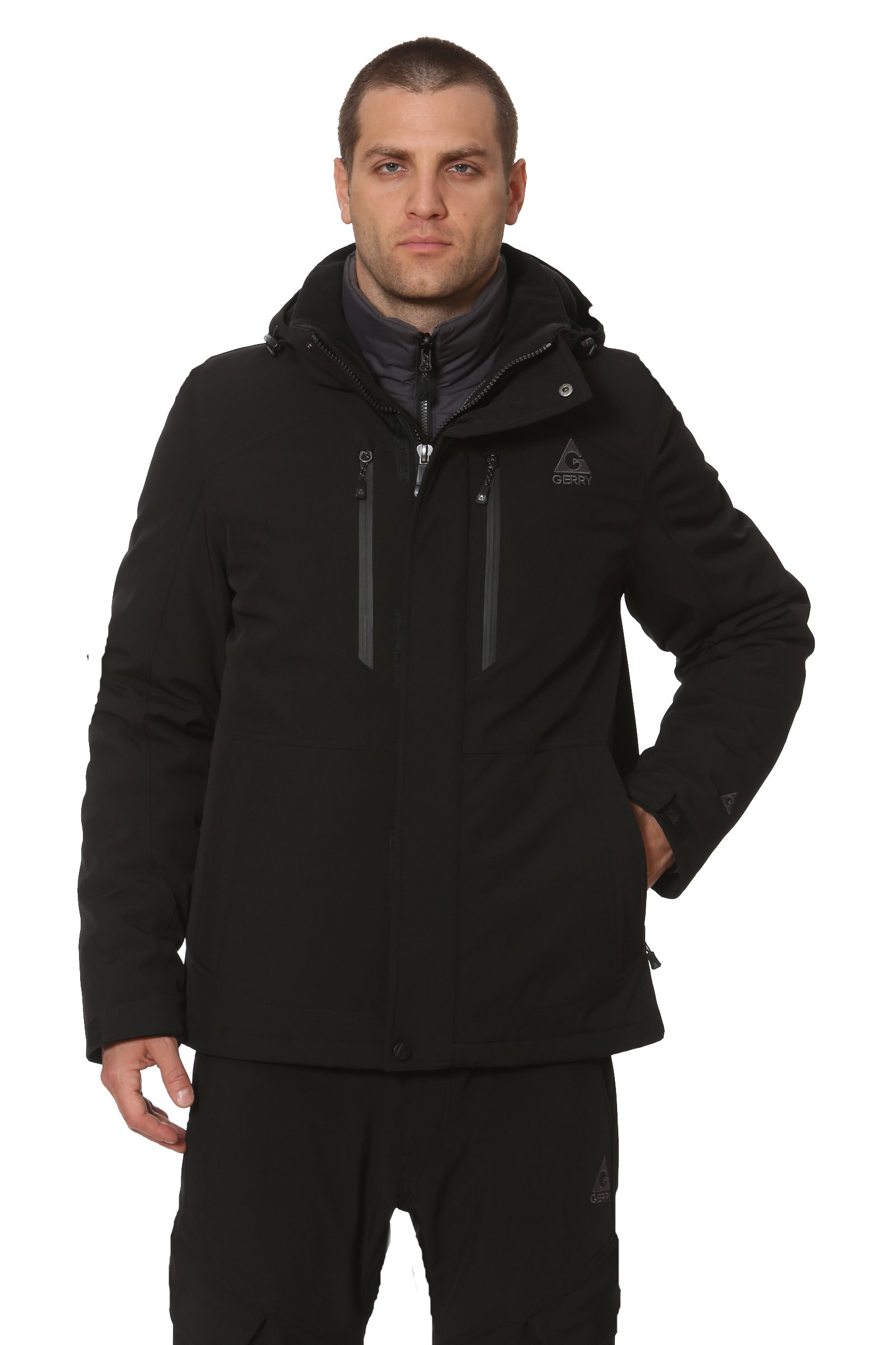 Gerry Canyon 3-in-1 Water/Wind Resistant Systems Jacket with Removable Hood and Detachable Inner Puffer (Black, Medium)