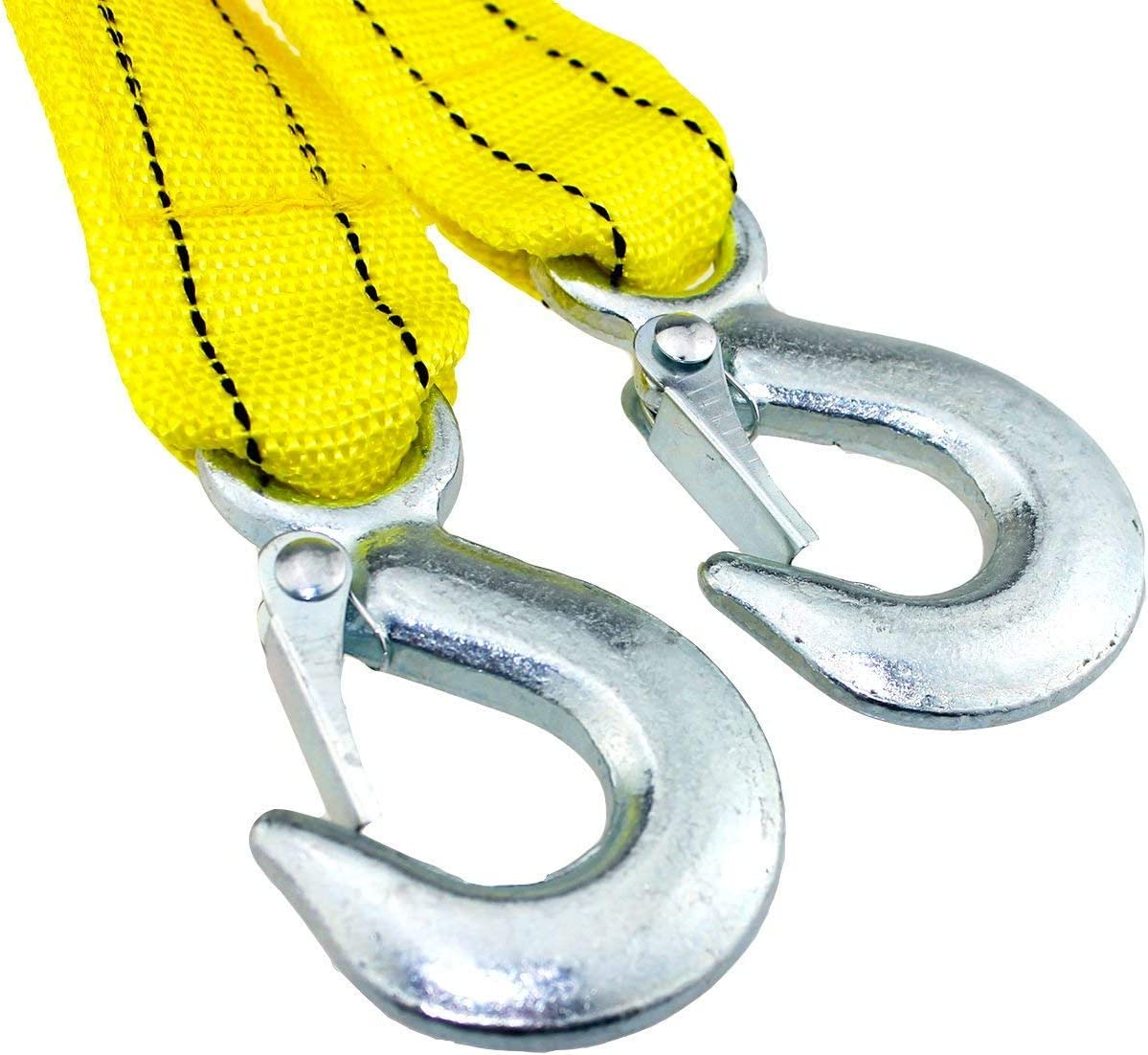 FixtureDisplays Heavy Duty Tow Strap with Safety Hooks 10,000 LB Capacity 18803 2 x 13
