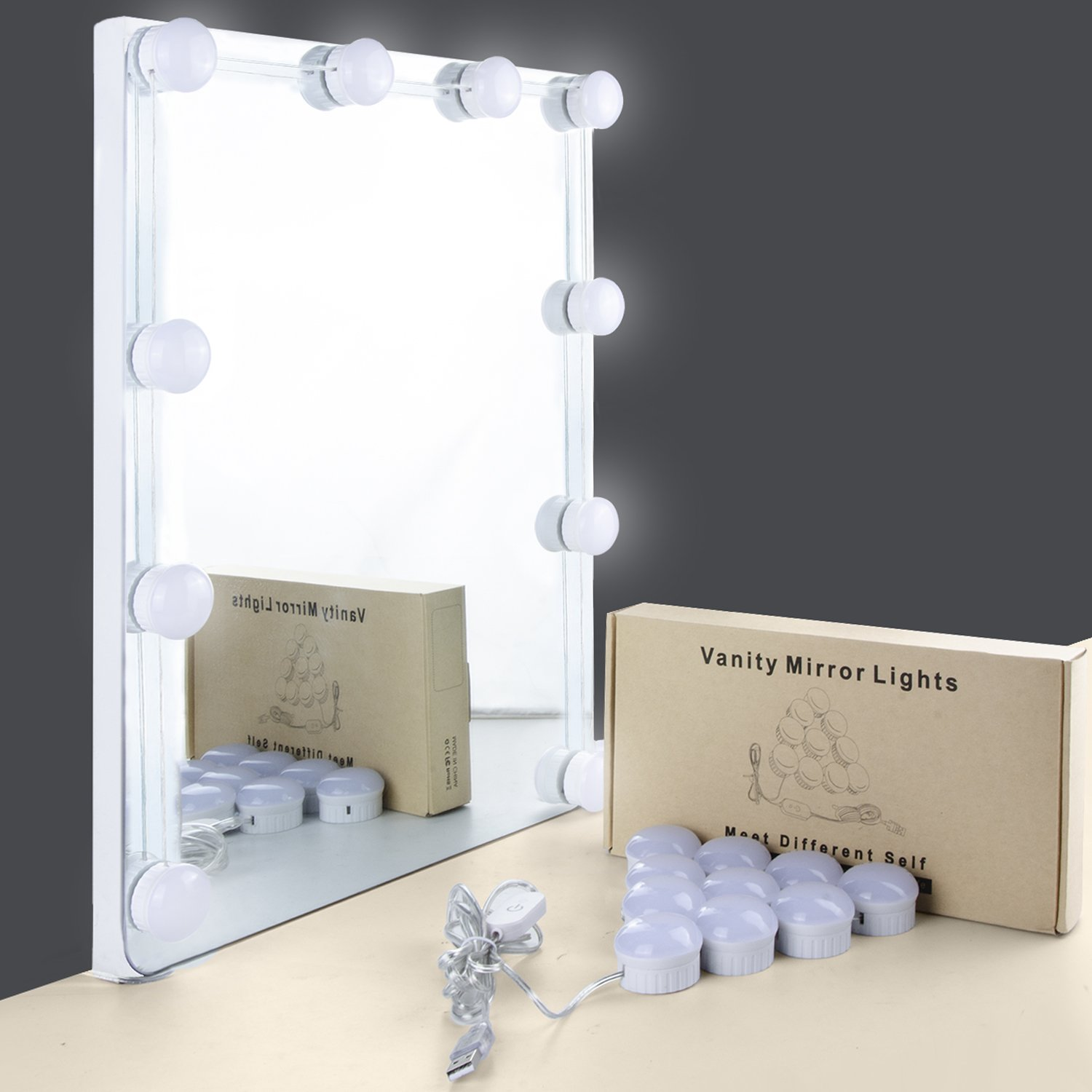 Mirror Lights, UNIFUN Hollywood Style LED Makeup Mirror Lights with 10 Dimmable Bulbs, USB Powered Flexible Lighting Fixture 7000K for Bathroom, Makeup Dressing Table (Mirror Not Include) (Touch)