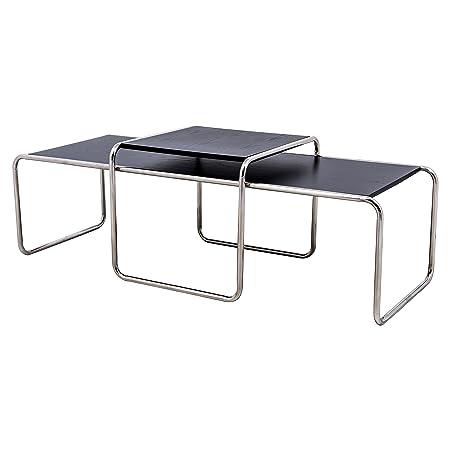 LeisureMod Malvern Modern Nesting Wooden Coffee Table with Chrome Base Black