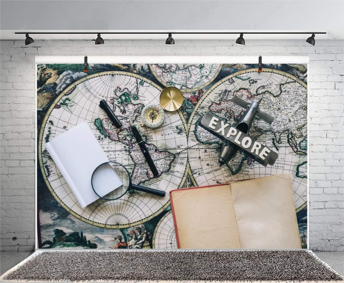 Leyiyi 8x6ft Photography Backgroud Globle Travel Backdrop Weatern Explore Ocean Adventure Voyage Model Plane Pen Old World Map Notebook Vintage Compass Magnifier Photo Portrait Vinyl Studio Prop