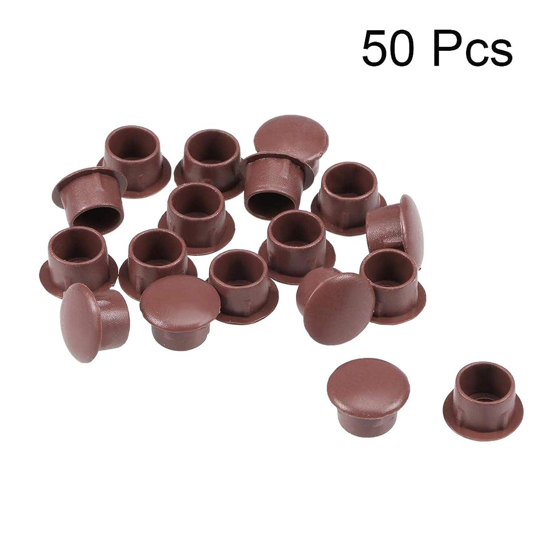YUNB 50Pcs 5mm Di/ámetro Tipo Empotrado Gabinete Armario Estante Tornillo Tapa Cubierta Marr/ón Pl/ástico Agujero de Bloqueo Tapones Bot/ón Superior