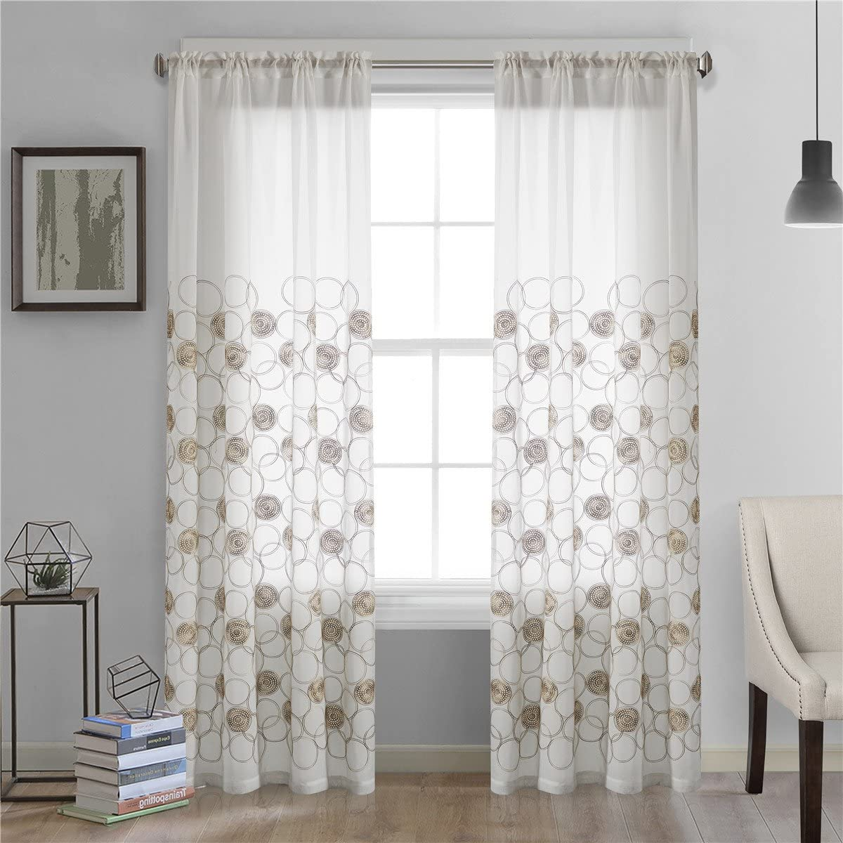 Dreaming Casa Roundness Pattern White Window Sheer Curtains for Living Room Rod Pocket Curtain Drapes for Bedroom 100 W x 102 L Set of 2 Panels