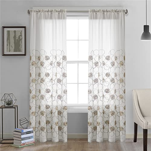 Dreaming Casa Roundness Pattern White Window Sheer Curtains