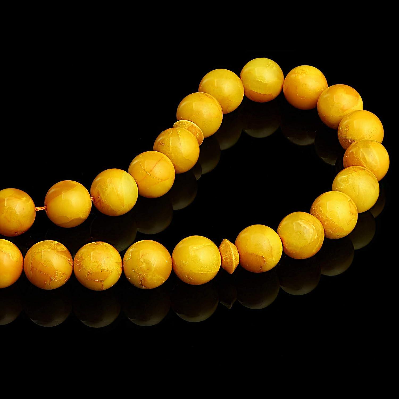 Yellow Tasbih Egg Yolk Authenticity Natural Baltic Amber // 10 mm Butterscotch//Misbaha 25 GRAMS//New//Honey Aged Muslim Islamic Rosary 33 Round Prayer Beads by Baltic Amber Handmade//Genuine