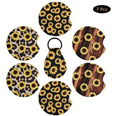 6 Pieces Sunflower Car Coaster, Neoprene Car Cup Holder Coaster Contrast Mug Coaster Flower Car Drink Cup Mat with 1 Pack Coin Key Chain to Keep Car Cupholders Clean: Kitchen & Dining