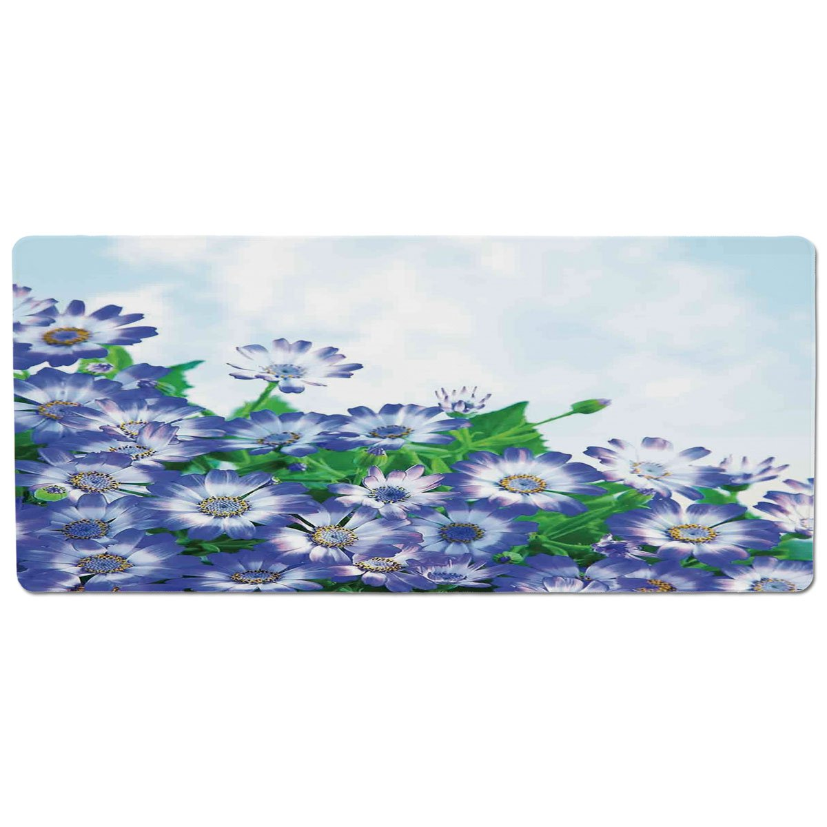 35.4\ Pet Mat for Food and Water,Floral,Fresh Wildflowers in Grass Vivid Spring Daisy Bloom Over Sky Floral Design Print,bluee Green,Rectangle Non-Slip Rubber Mat for Dogs and Cats