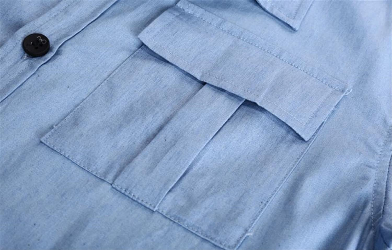 Domple Men Long Sleeve Stylish Denim Buttons Cotton Shirts
