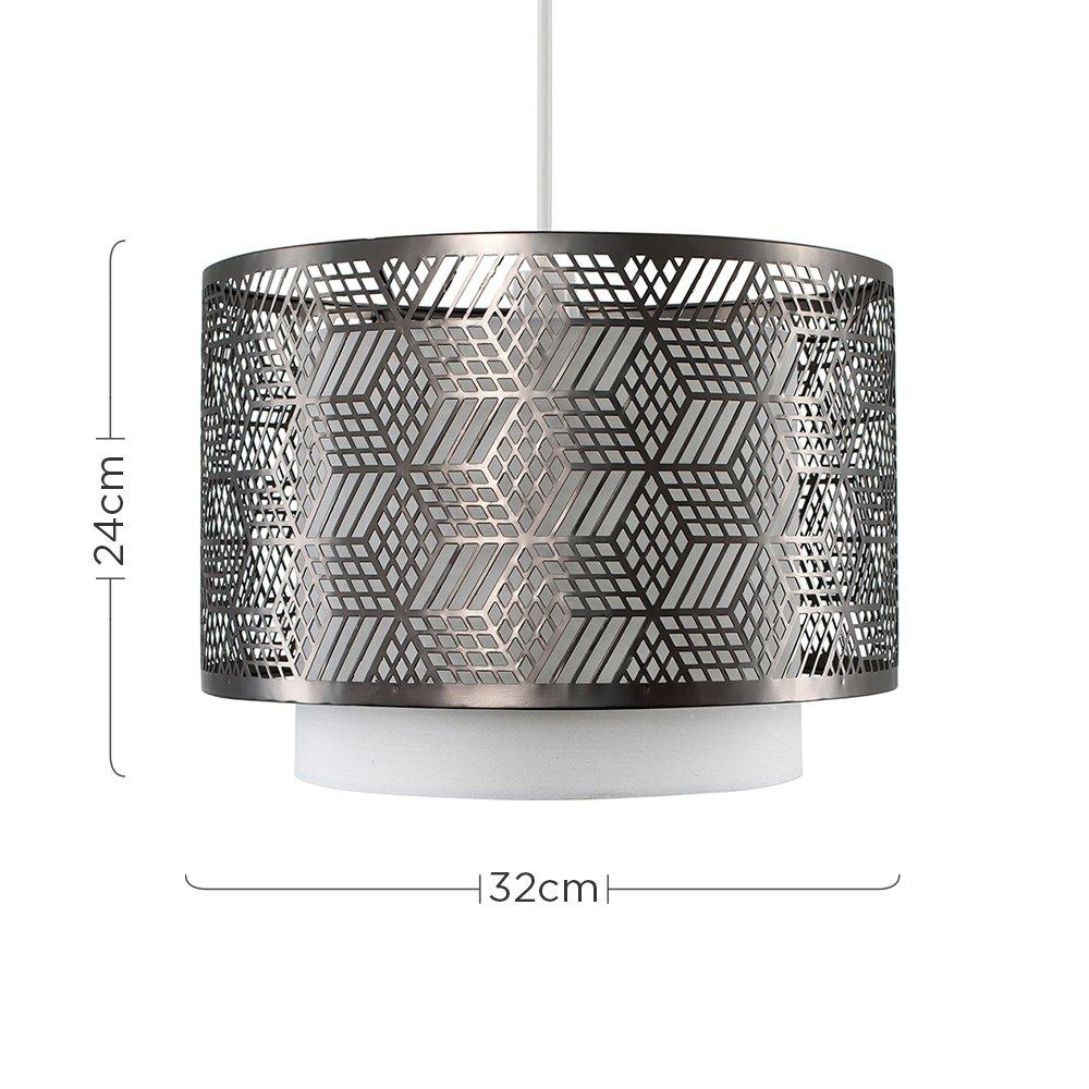 Modern White /& Silver Chrome Geometric Design Cylinder Ceiling Pendant Light Shade