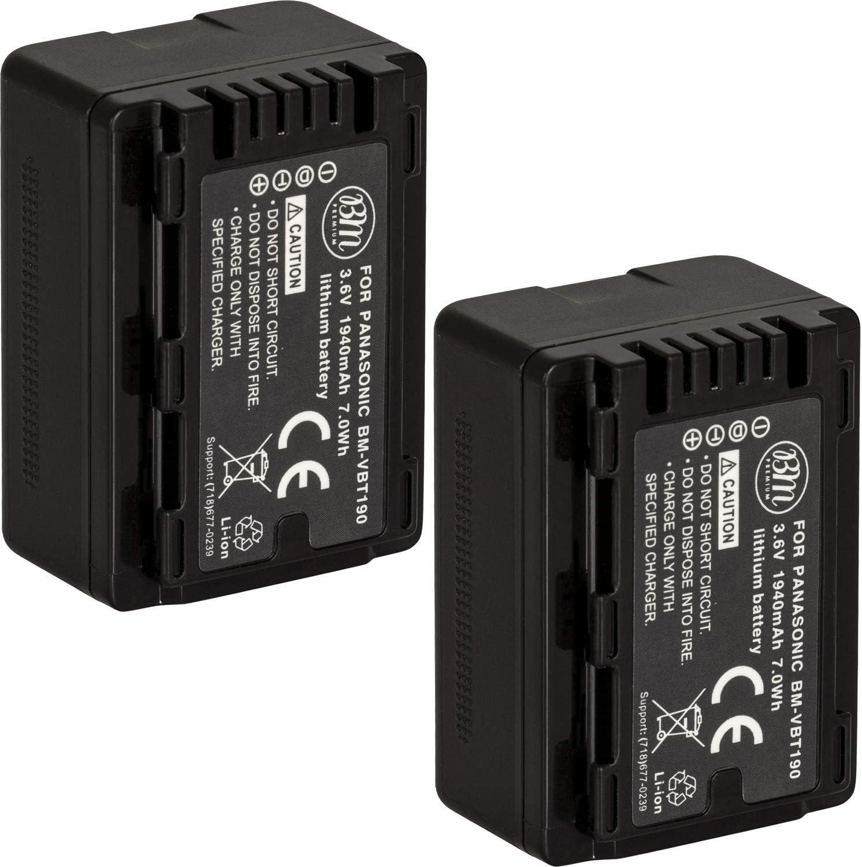 HC-WXF991 Camcorder BM Premium 2-Pack of VW-VBT190 Batteries for Panasonic HC-V800K HC-V720 HC-VX870 HCW580 HC-W850 HC-VX981 HC-V750 HCV520 HCV510 HC-V770 HCV710 HC-VX1K HC-WXF1K HC-V550
