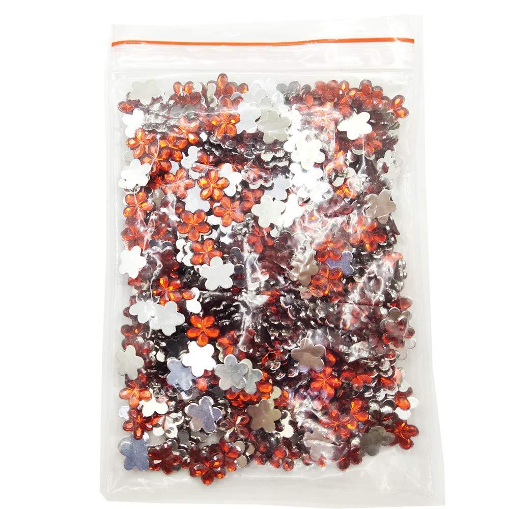 Plum Blossom Shapes 10mm Gemstone Embellishments Red Evniset 500pcs Acrylic Flatback Rhinestones
