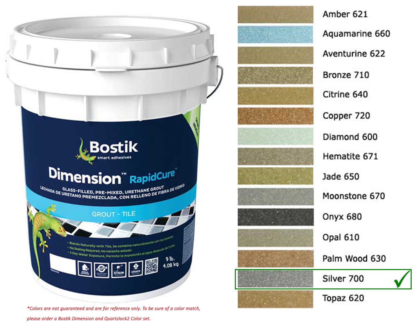 Bostik Dimension StarGlass Grout 700 Silver 9 lbs