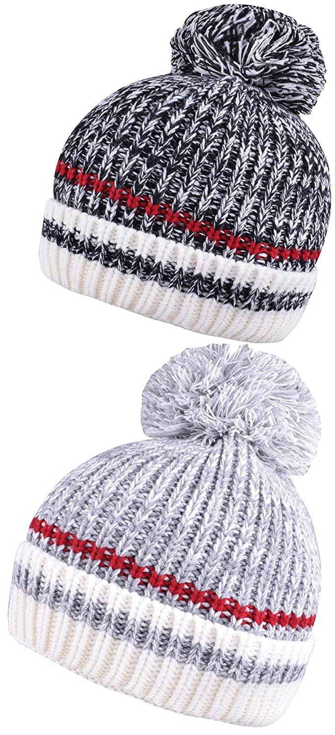 bcc7635c764 Mens Beanie with Pom Cuff Beanies for Women Set of 2 Pcs Caps Bobble Knit  Hat