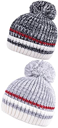 Mens Beanie with Pom Cuff Beanies for Women Set of 2 Pcs Caps Bobble Knit  Hat 2a700f36d0