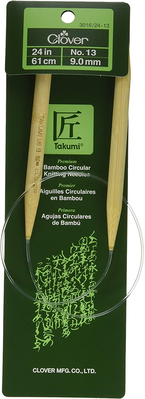 Size 10.5 Clover 3016//24 Takumi Bamboo Circular 24-Inch Knitting Needles