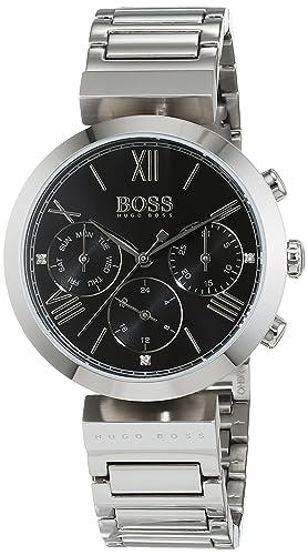 500ee46478d70 Hugo Boss Classic Women Sport Womens Quartz Black Chronograph Silver  Stainless Steel Bracelet 1502398  Amazon.co.uk  Watches