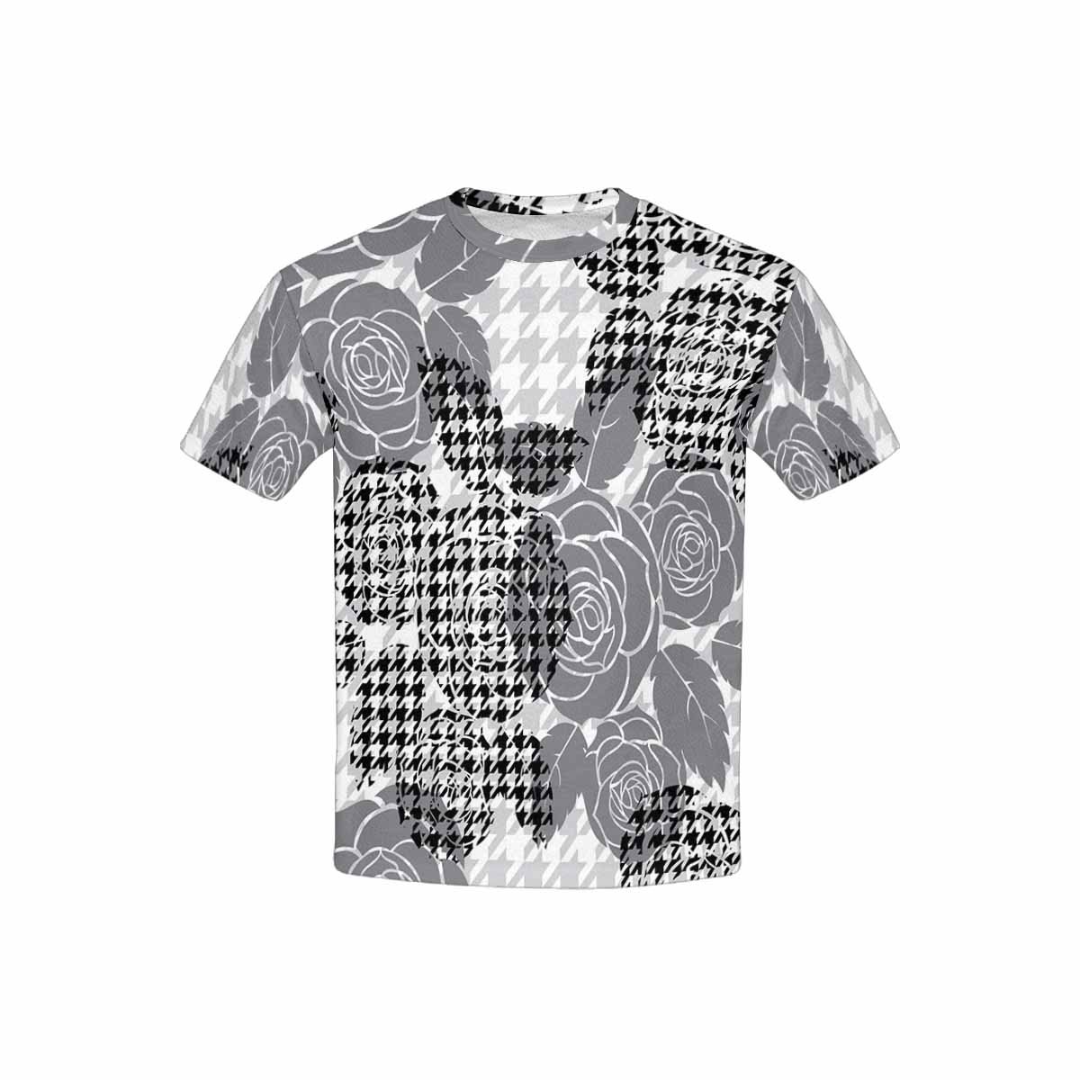 XS-XL INTERESTPRINT Childs T-Shirt Hounds Tooth Pattern with Roses