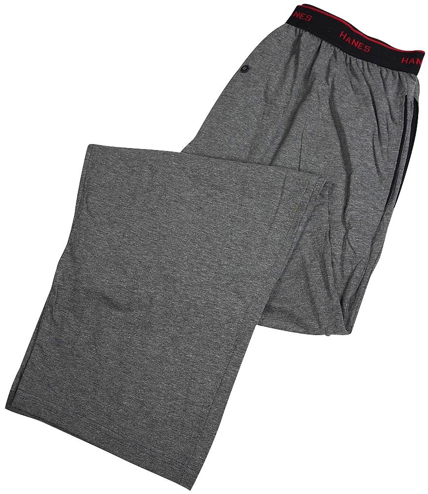Hanes Men's Knit Pant with Elastic Waistband,Grey Heather,X-Large