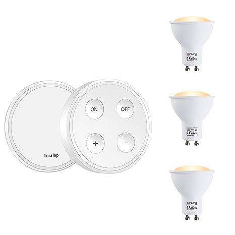 LoraTap Juego 3 Piezas Bombillas LED GU10 Regulable con Mando a Distancia, Alance de 200m