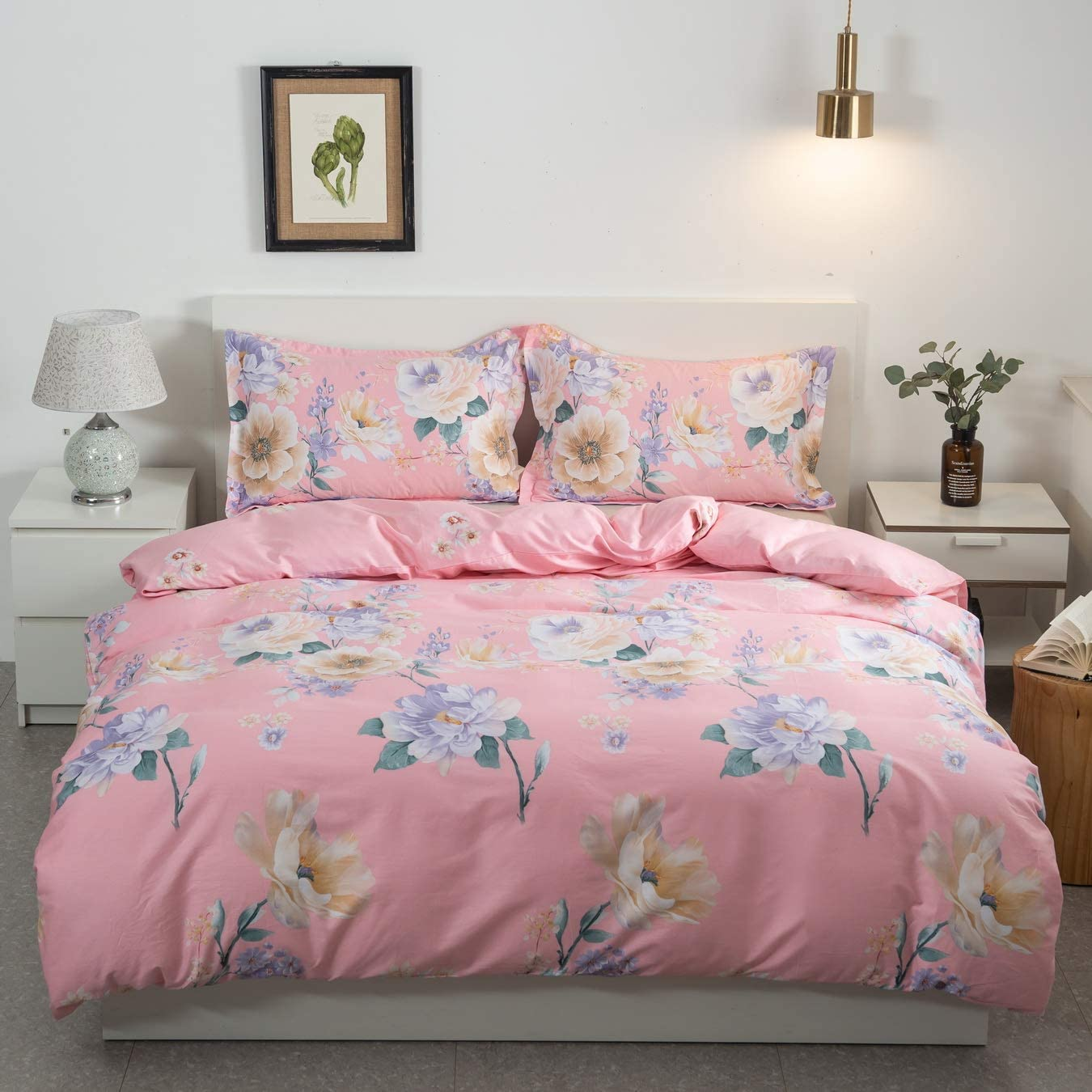 Style Bedding Duvet Cover, 100% Cotton Comfy Floral Flower Printed Reversible Pintuck Comforter Cover and Shams 3 pcs Set with Hidden Zipper and Corner Ties, Queen(90 x 90 inch)
