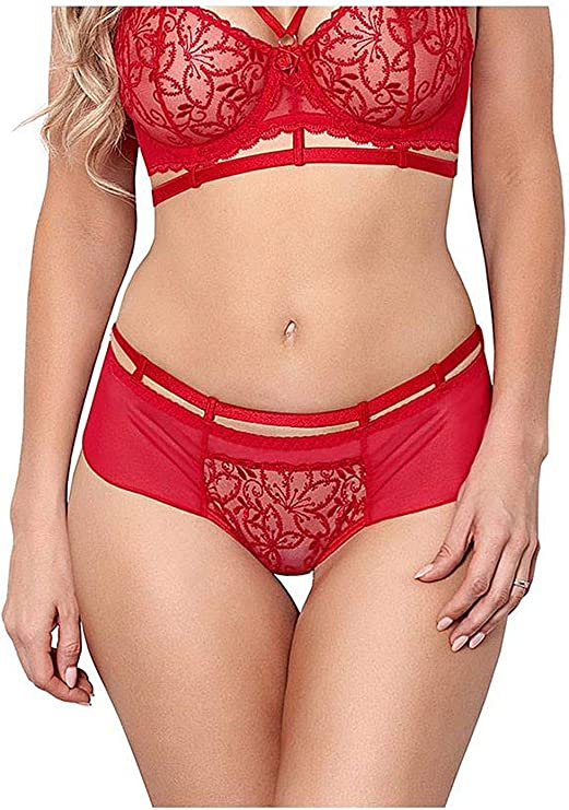 Axami Women Lingerie Decorative Brazilian Thong V-8485 with Lace sizes 8-14