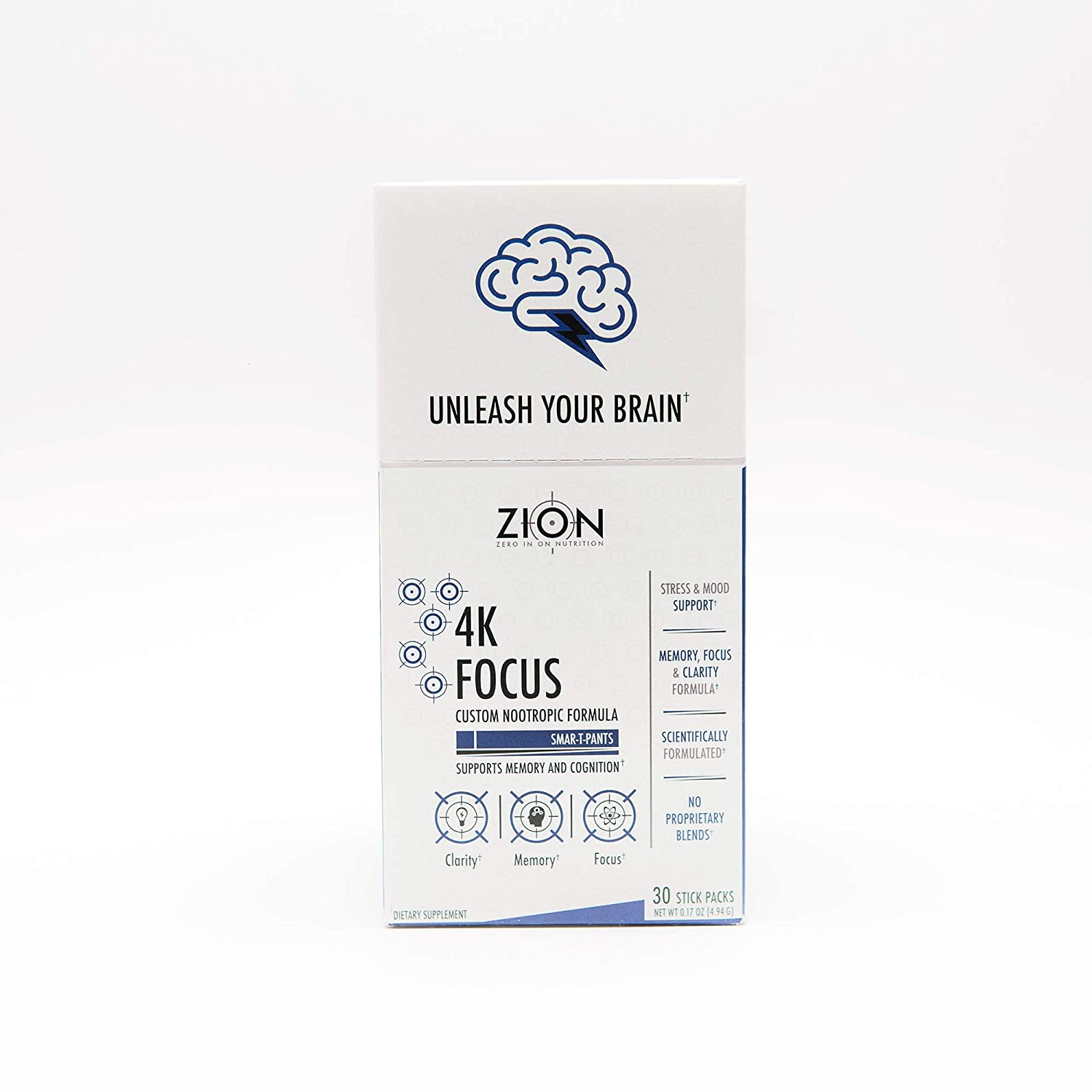 Zion 4K Focus Formula Nootropic Brain Support Supplement – Lion s Mane, Rhodiola Rosea, Alpha GPC, Bacopa Monnieri – Improves Memory, Mental Clarity, Mood, and Stress Box of 30