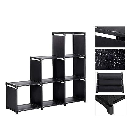 Meerveil Étagère Meuble Armoire de Rangement Ouvert Bibliothèque Escalier 6  Cubes en Metal Tissu Intissé pour Salon Chambre Noir