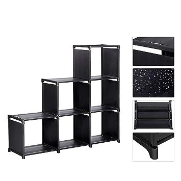 Meerveil Etagere Meuble Armoire De Rangement Ouvert Bibliotheque Escalier 6 Cubes En Metal Tissu Intisse Pour Salon Chambre Noir
